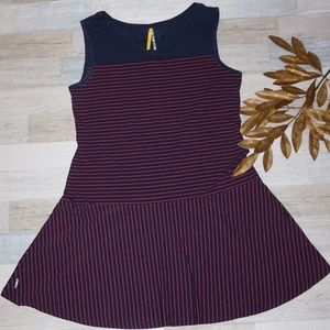 Lole Sleeveless Navy Dress with Red Stripes